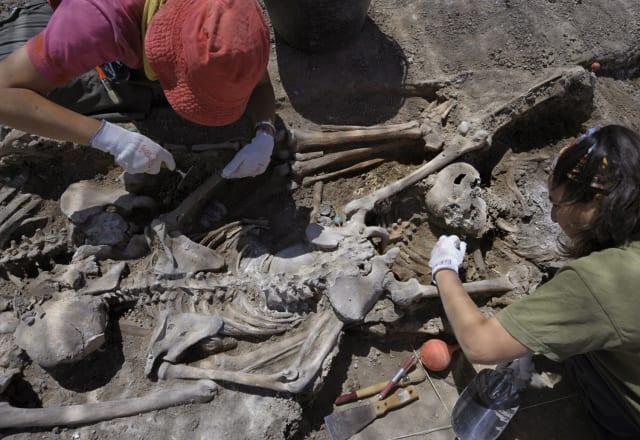 Miembros de la Asociación Española para la Recuperación de la Memoria Histórica (ARMH) exhuman restos de víctimas ejecutadas por las fuerzas de seguridad de Franco durante la guerra civil de España en Milagros, cerca de Burgos, norte de España, el 15 de julio de 2008