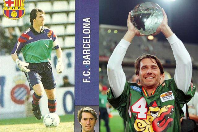 El ex portero del Barcelona se marchó del club catalán al final de la temporada 1995-1996 y siguió compitiendo en un deporte colectivo, el futbol americano. El que era yerno del entonces entrenador culé, Johan Cruyff, fue el pateador del equipo Dragones de Barcelona, en la ya extinta NFL Europa, de 1996 hasta 2003. Después fichó por Badalona Dracs y Bergamo Lions, ambos de la liga italiana.