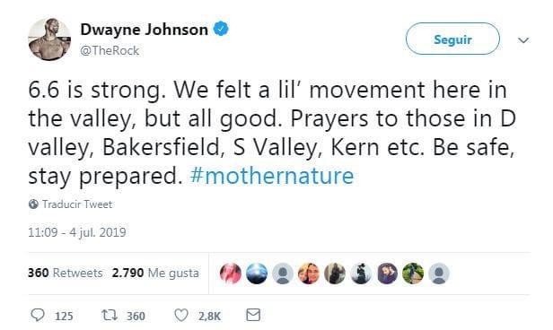 """""""6.6 es fuerte. Todos sentimos un pequeño movimiento aquí en el valle, pero todos bien. Mis oraciones para aquellos en el Valle D, Bakersfield, Valle S, Kern, etc. Cuídense y manténganse alertas. #MadreNaturaleza""""."""