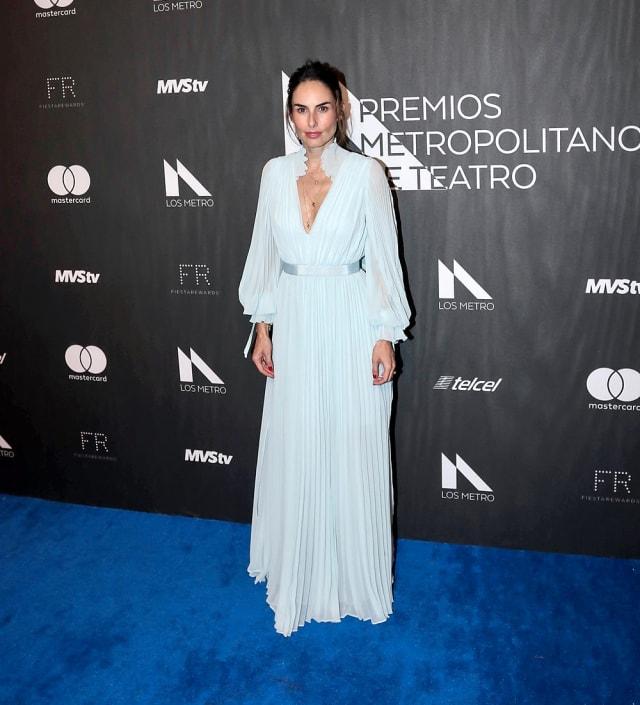"""La protagonista de """"Doña Flor y sus Dos Maridos"""" decidió llevar al evento un vestido de gasa azul."""