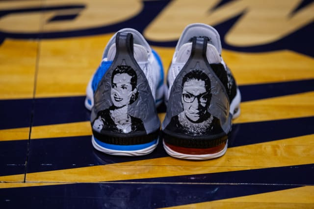 Longtime franchise icon Diana Taurasi has helped to lead LeBron James' sneaker series in the W over the past decade, with a rotation of player-exclusive pairs on hand. Her inspired custom pair pays tribute to two pioneering women she has long admired, with portraits of each featured along the heel. Ruth Bader Ginsburg (right), the second female U.S. Supreme Court justice, has pushed for the advancement of women's rights and gender equality throughout her career. Evita Perón, the first lady of Argentina from 1946 to 1952, is highlighted for her impact on the women's suffrage movement. Her forming of the Female Peronist Party, the first female political party in the nation, is credited by many with leading women to gain the right to vote in the country.