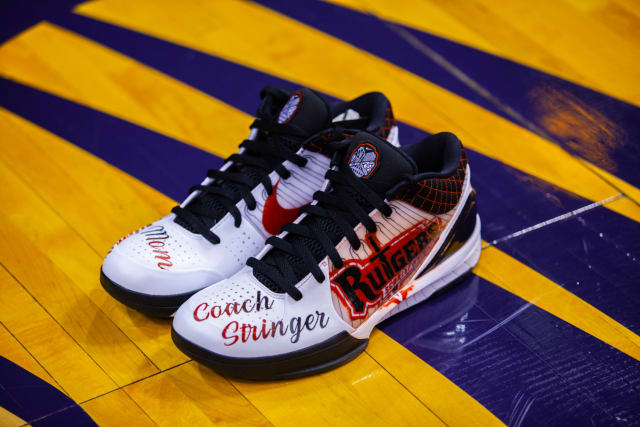 Essence Carson opted for a Kobe 4 Protro, with the sizable toe real estate honoring three of the women who have inspired her: her mom, her grandma and her college coach, Vivian Stringer. Styled in a Rutgers colorway, the shoe celebrates the Hall of Fame coach's achievement as the first African American college basketball coach to win 1,000 games.
