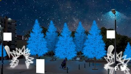 Nos alejamos del centro para llegar a la parte norte de la ciudad. El Parque El Virrey es otro punto que siempre se ha iluminado en las navidades de la capital y en esta ocasión no es la excepción. Con arboles azules y blancos el parque invita a todos los ciudadanos a que revivan la historia y la magia de la navidad.